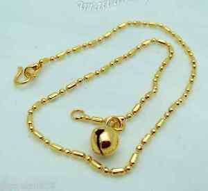 Bell 23K 24K Thai Baht Gold GP Jewelry  Bracelet Charm Anklet Bell  9 inch Women