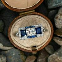 Antique Vintage Retro Engagement Ring 14K White Gold Over 3Ct Diamond & Sapphire