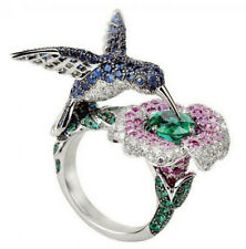 6.5CT Green&Blue&Pink Sapphire Hummingbird 925 Silver Wedding Ring Size 6-10