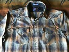 mens medium long Pendleton blue brown plaid washable wool western snap shirt M