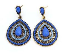 Women Lady Retro Boho Blue Color Bohemian Party Oval Earrings Ear Drop