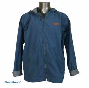 Columbia Men's Jacket Hooded Cotton Blend Zippered Pockets Blue Size XL