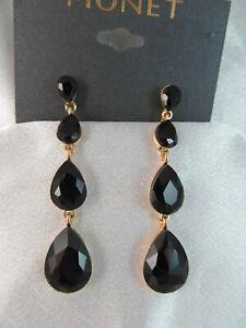 NWT MONET GOLD & BLACK GLASS GRADUATED TEARDROP LONG DANGLE EARRINGS, Signed