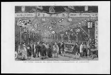 1882 - Antique Print SINGAPORE Illuminations Young Princes Cruise Coolies   (25)