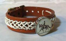 Horse Snap & Leather twine stch Bracelet 18-20Mm Dressage Extended Trot Bubbles!