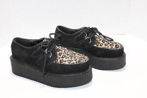 DEMONIA Platform Shoes Black Leopard Velvet Creepers Hide Away Casket 6.5 Goth