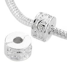 Authentic Silver 2Pc Clip Lock Spacer Stopper Charm Bead Suits Pandora Bracelet
