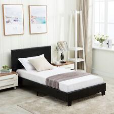 Twin Size Bed Frame Platform Upholstered Headboard Faux Leather & Slats Bedroom