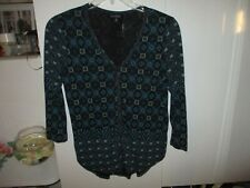 LUCKY BRAND BLACK AND BLUE LONG SLEEVE BUTTON UP TOP SIZE M