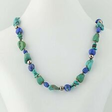Lapis Lazuli & Turquoise Beaded Necklace - Sterling Silver Southwestern 19.5""