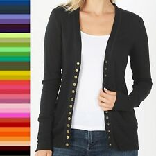 Snap Button Front V Neck Long Sleeve Sweater Cardigan Ribbed Details HW-2039