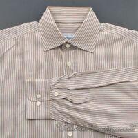 BRIONI Brown White Blue Striped 100% Cotton Mens Casual Dress Shirt - LARGE