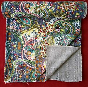 100% Cotton Indian Handmade Queen/Twin Paisley Print Kantha Quilt Throw Blanket