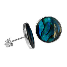 12mm ROUND BLUE ABALONE PAUA SHELL CABOCHON 925 STERLING SILVER STUD EARRINGS