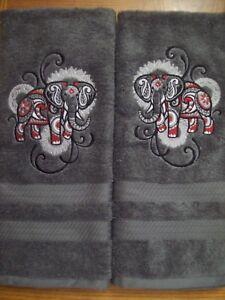 MEHNDI ELEPHANT Bathroom GRAY Hand Towel Set Embroidered Beautiful