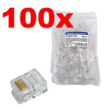 100 x rj12 Western conector teléfono instalación 6 contactos transparente modular