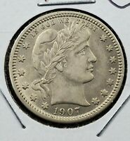 1907 P 25C Barber Silver Quarter AU Details small OBV Scratch Nice coin 4 Albums