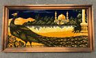 """Vintage 36"""" X 18"""" Framed 3D Middle East India Taj Mahal Peacock Woven Tapestry"""