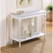 """NEW 29"""" FURNITURE Colonial Carved Top White Wood HALL SOFA ACCENT CONSOLE TABLE"""