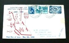 Canada to NZ-1958-Centenary of British Columbia FDC