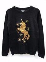 Primark womens christmas unicorn sequin jumper sweater size Small