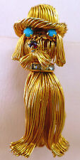 DOG Figural BROOCH Pin Gold Tone Wire Worked VINTAGE