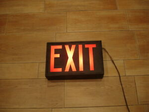 "VINTAGE 60's , 70s HEAVY metal  13"" EMERGENCY lighted EXIT SIGN WORKING"