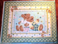 BUBBLES & BEARS BABY Quilt Top Wallhanging NURSERY Fabric BUTTERFLY BEARS NEW