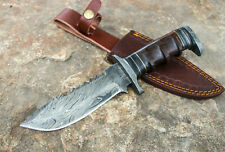 DAMASCUS Knife CUSTOM HANDMADE Forged HUNTING BOWIE WALNUT WOOD HANDLE SHIPS USA