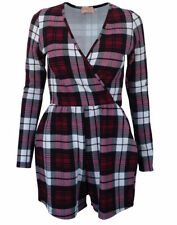 Polyester Long Sleeve Check Jumpsuits & Playsuits for Women