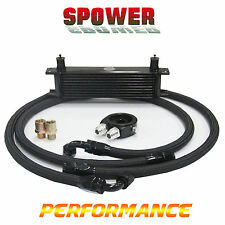 Universal 10 Row AN10 Engine Transmission Oil Cooler Black + Filter Adapter Kits