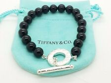 Tiffany & Co Sterling Silver Black Onyx Bead Bracelet Toggle 7.5' In Bracelet