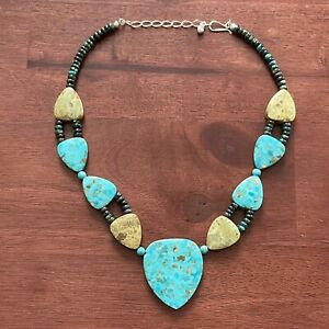 Amazing Statement Turquoise Beaded Necklace Designer Jay King Mine Finds 925
