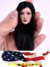 NEW 1/6 ZY toys woman head scuplt black hair for phicen hot toys kumik US Seller