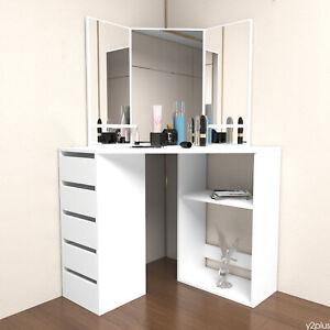 White Corner Dressing Table Makeup Desk Three Mirror Drawer Stool Bedroom