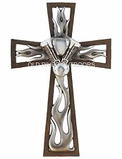 "12"" Decorative Layered Wall Cross Jesus Motorcycle Engine Crosses Harley Flame"