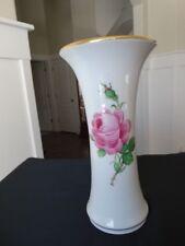 "Meissen Pink Rose (to Left) 9 1/2 "" Vase w/ Gold Trim 1924 Blue Cross Sword Mark"