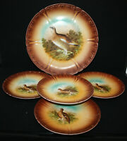 5 Vintage Game Bird Lusterware Plates ~ Franz Anton Mehlem ~ 1 Large 4 Small