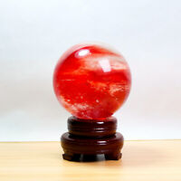 80mm Natural Reiki Healing Crystal Sphere Red Smelting Stone Quartz Ball + Stand