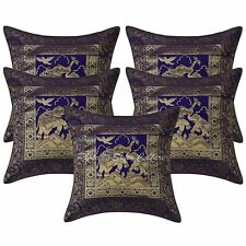 """16"""" Indian Elephant Brocade Throw Pillowcases Set Of 5 Ethnic Cushion Covers"""
