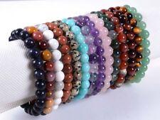 Handmade Natural Gemstone Round Beads Stretch Bracelet 7.5'' 6/8/10/12mm