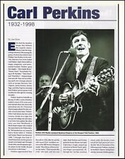 Carl Perkins 1932-1998 death tribute 2-page article pin-up photo print