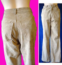 Beige suede jean pant brown 4 26 leather KHAKI soft 5 pocket straight leg