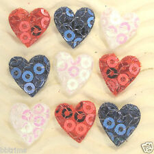 """Us Seller - 90 pcs x 1/2"""" Padded Sequin Heart Appliques/Patriotic/Usa St37A"""