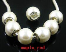 Wholesale 100pcs Acrylic white pearl bead silver plt core Fit European Bracelet