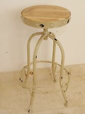 Vintage industrial bar stool reclaimed seat steel base cream