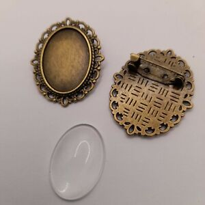 5 brooch blanks antique bronze ornate oval vintage style cabochon tray settings