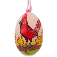 Cardinal Bird in Autumn Wooden Christmas Ornament 3 Inches