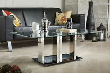 SOPHIA Modern Black/Silver Stainless Steel And Glass Stylish Coffee Table