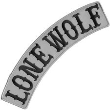 "VEGASBEE® LONE WOLF REFLECTIVE EMBROIDERED PATCH BIKER JACKET TOP ROCKER 12"" USA"